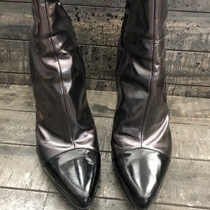 CASADEI Black Gray Patent Leather Boots